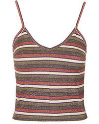 Topshop Metallic Stripe Cropped Cami - Lyst