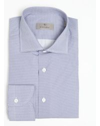 Canali Sky Blue and White Honeycomb Pattern Cotton Spread Collar Dress Shirt - Lyst