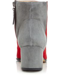 Carmelinas Ana Ankle Boot In Red And Gray Suede