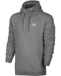 6d134017e Black Polyester Sweatshirt. $103. MCLabels. Nike - Club Half Zip Fleece  Hoodie - Lyst