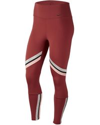 Nike One Glam Dunk Tape 7/8 Tights - Red