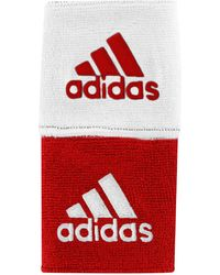 """adidas """"interval 3"""" Reversible Wristbands"""" - Red"""