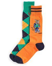 Polo Ralph Lauren Varsity Tiger 2 Pack Socks - Orange