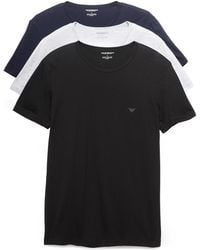 Emporio Armani 3 Pack Genuine Cotton Crew Neck Tees - Multicolour