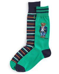 Polo Ralph Lauren Blazer Bear 2 Pack Socks - Green