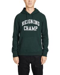 Reigning Champ Logo-embroidered Loopback Cotton-jersey Hoodie - Green