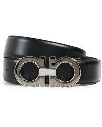 Ferragamo Large Double Gancio Reversible Belt - Black
