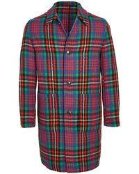 AMI Multi Colour Plaid Wool Topcoat - Red