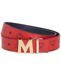 MCM Reversible Flat M Buckle Belt - Red
