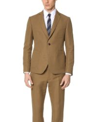 Brooklyn Tailors - Cotton And Linen Herringbone Unstructured Jacket - Lyst