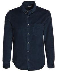A.P.C. Serge Corduroy Button Down Shirt - Blue