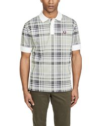 Fred Perry Jacquard Check Polo Shirt - White