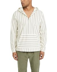 Vince Stripe Half Zip Pullover Hoodie - Gray