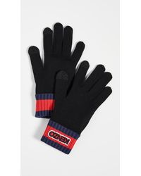 KENZO Logo Tag Knit Gloves - Black