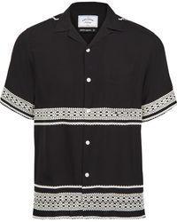 Portuguese Flannel Folclore Short Sleeve Shirt - Black