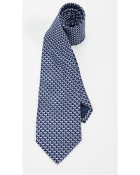 Ferragamo Dog Print Classic Tie - Blue