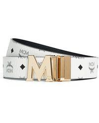 MCM Visetos Printed Reversible Belt - White