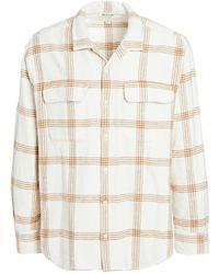 Madewell Camp Collar Plaid Overshirt - White