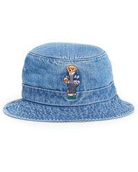 Polo Ralph Lauren Polo Bear Denim Bucket Hat - Blue