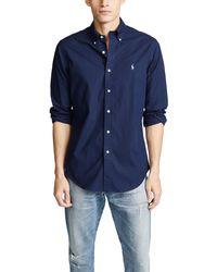 Polo Ralph Lauren Slim Stretch Poplin Shirt - Blue
