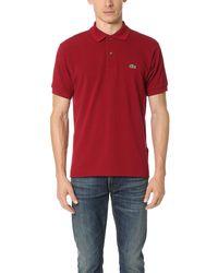 Lacoste S Short Sleeve L.12.12 Pique Polo Shirt Polo Shirt - Red