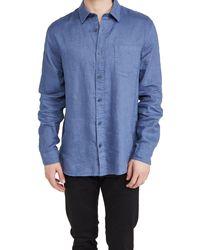 Vince Linen Long Sleeve Shirt - Blue