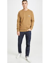 Maison Kitsuné Long Sleeve Sweatshirt With Smiley Fox Patch - Natural
