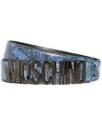 Moschino Leather Logo Belt - Blue