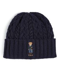 Polo Ralph Lauren Aran St. Andrew Bear Cable Knit Beanie - Blue