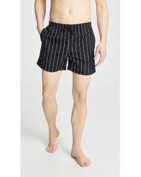 Solid & Striped The Classic Pinstriped Swim Trunks - Black