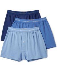 Calvin Klein Cotton Classic 3 Pack Knit Boxers - Blue