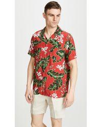 J.Crew Short Sleeve Printed Camp Collar Shirt - Red