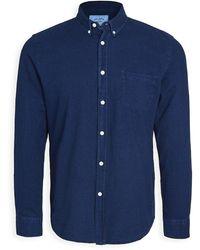 Portuguese Flannel Indigo Long Sleeve Button Down Shirt - Blue