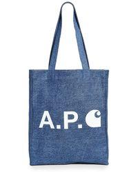 A.P.C. P.c.a.c. X Carhartt Wip Tote - Blue