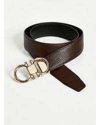 Ferragamo Rose Gold Double Gancio Reversible Belt - Black