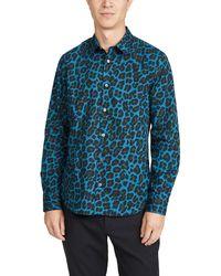 Paul Smith Long Sleeve Leopard Print Slim Fit Shirt - Green