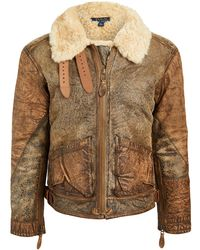 Polo Ralph Lauren Icelandic Shearling Bomber Jacket - Brown
