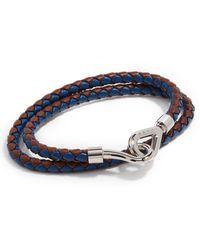 Marni Double Wrap Leather Braided Bracelet - Blue