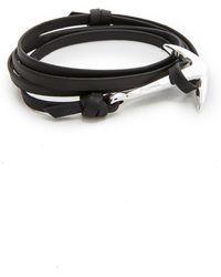 Miansai Silver Anchor Leather Bracelet - Black