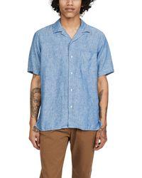 Gitman Brothers Vintage Chambray Linen Camp Collar Short Sleeve Shirt - Blue