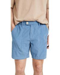 Corridor NYC Vintage Indigo Pincord Camp Pocket Shorts - Blue