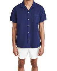 Alex Mill Seersucker Camp Shirt - Blue