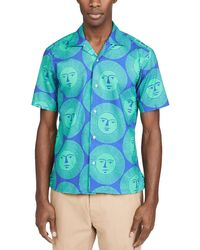 Gitman Brothers Vintage Sunshine Short Sleeve Camp Collar Shirt - Blue