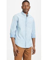 J.Crew Chambray Single Pocket Button Down Shirt - Blue
