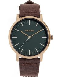 Nixon - Porter Leather Strap Watch, 46mm - Lyst