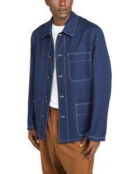 Marni Wool Gabardine Work Jacket - Blue