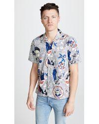 Gitman Brothers Vintage Ss Bd Sailor Shirt - Camp Collar - Blue
