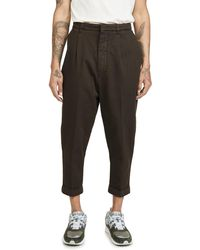 AMI Oversized Carrot Fit Pants - Brown