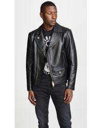 Versus - Leather Moto Jacket - Lyst