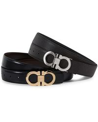 Ferragamo Gancini Buckle Reversible Belt Box Set - Black